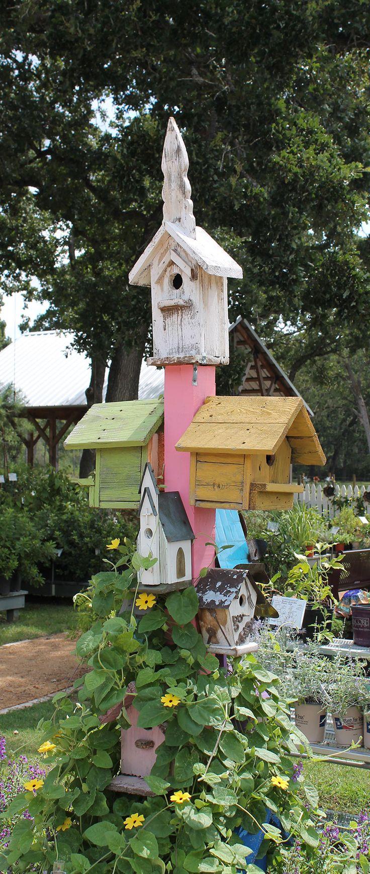 Birdhouse constructed of wood bird house design free standing bird - Wacky Creative Garden Art Blending Junk And Vintage Items Into Tasteful Garden Decor