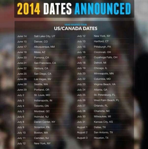 2014 Warped Tour Dates Note Some Dates Were Changed Recently