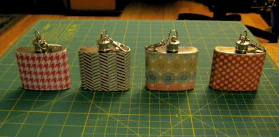 Mod Podge flasks? umm yes please... GREAT idea for bachelorette gifts too!