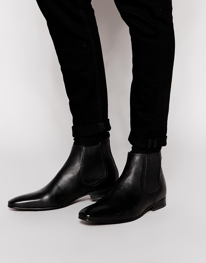 $132, Black Leather Chelsea Boots: Base London Thread Leather Chelsea Boots. Sold by Asos. Click for more info: http://lookastic.com/men/shop_items/197770/redirect