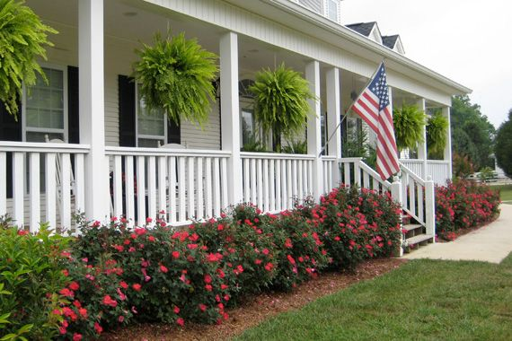 83 best front landscape ideas images on pinterest garden for Front porch landscaping plants