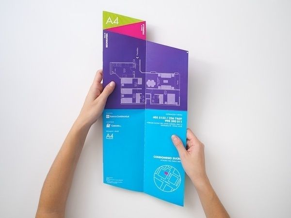 Brochure Cool Fold! I wonder how it would sit in a rack. Must have to chop off the bottom. in Paperz