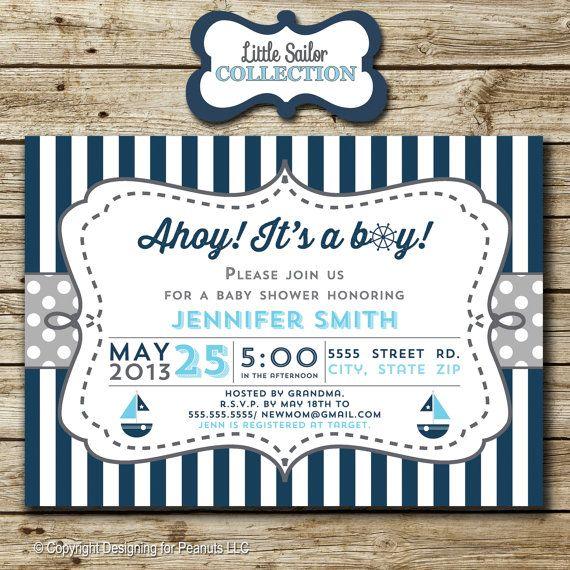 Sailboat Baby Shower Invitation nautical by designingforpeanuts, $12.00 (no sailing stuff)