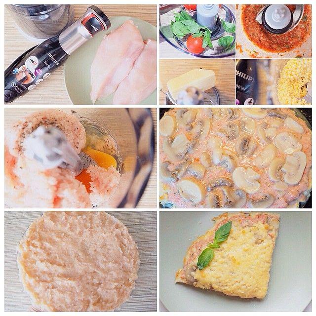 Сложно назвать это блюдо пиццей, но вроде похоже. Итак, пицца для тех, кто любит своё тело и вкусно покушать )) ✅Для коржа: 200г куриного филе, соль, перец, яйцо. ✅Для начинки: помидоры, базилик, чеснок, нат.йогурт, шампиньоны, сыр. 💠Куриное филе размолоть в блендере с яйцом и специями. •Ровным слоем распределить на бумаге для выпекания(у меня на стекле, если липнет к рукам, то делайте это мокрыми руками) •Поставьте в духовку на 15 мин при температуре 180 •В блендере измельчите помидоры…