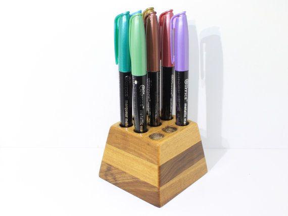 Fountain Pen Stand Desk Organizer Wooden Desk Caddy