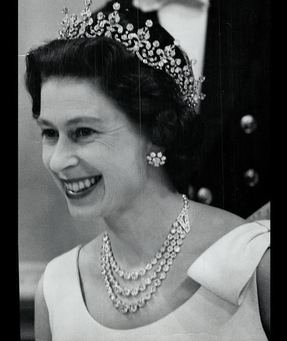 Queen Elizabeth II wearing her crown jewels during her time in Canada in 1967