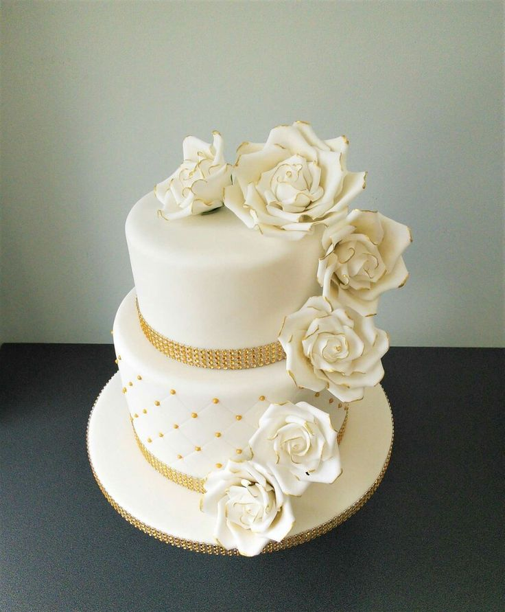 Golden Wedding Two Tier Cake With White And Gold Roses