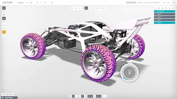 RC buggy 3D design created with VECTARY