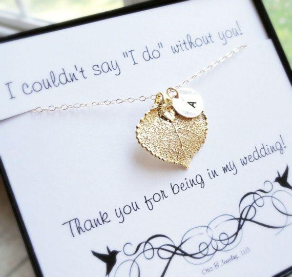 Personalized Bridesmaid gifts THREE Gold leaf by OtisBWeddings