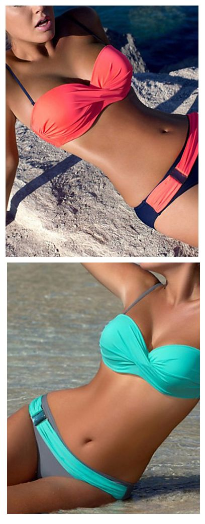 Holidays are over, it's time to keep fit and get a new bikini =)  Beautiful mint, orange bandeau bikini at just $15.99