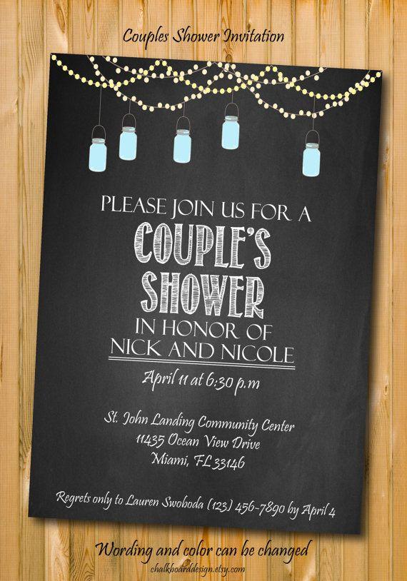 Printable Couples Shower invitation, custom Party invitation, custom chalkboard invite