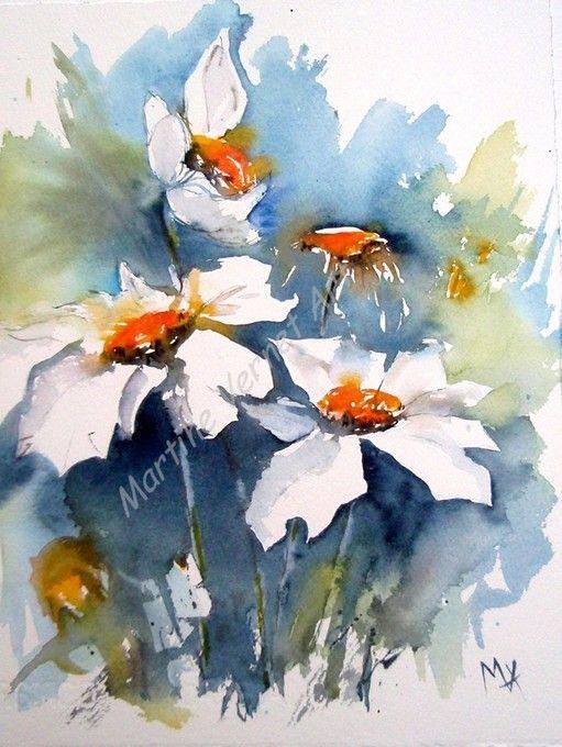 Martine Vernet, Inspiration florale, Aquarelle 30x40cm