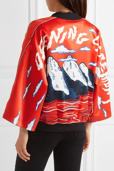 Opening Ceremony - Reversible Printed Silk-satin Bomber Jacket - Tomato red - x small