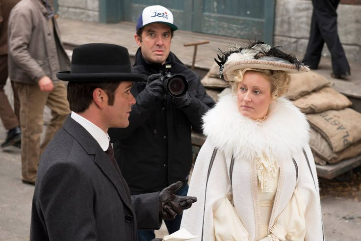 """Rick Mercer (back) crashes a scene between Yannick Bisson (""""Murdoch"""") and Chantal Craig (""""Cecily Welsh"""")"""