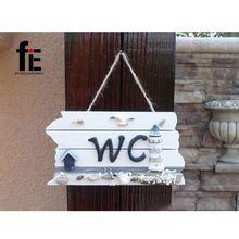 Houten Craft Creative Toilet WC Deur Decoratie Mediterrane Stijl Interieur Anker Nautische Hout(China (Mainland))