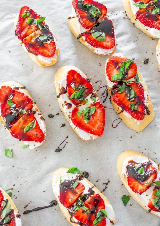 Strawberry Basil Bruschetta with Balsamic Reduction