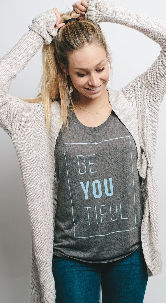 Looking for a fun graphic tee. BE YOU TIFUL Beautiful Ladies Triblend Tee by GR8APPAREL on Etsy