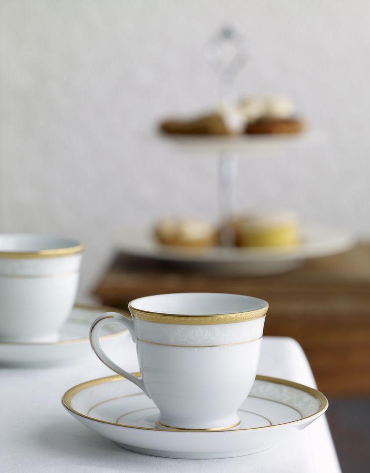 Noritake Hampshire Gold beautiful delicate embossed tableware. High tea photographer/stylist Brandee Meier