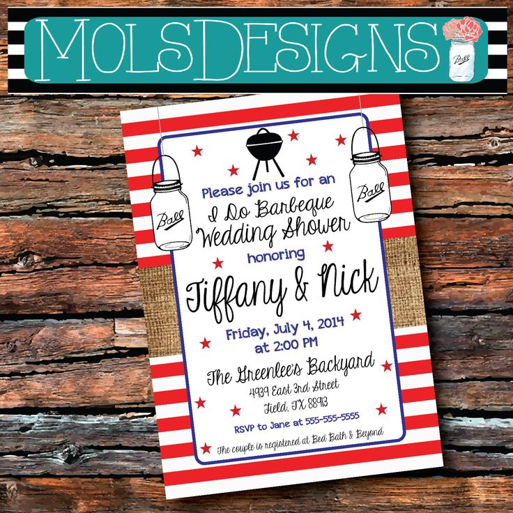 COUPLES I Do BARBEQUE WEDDING Shower Red White Blue Bbq July 4th Labor Day Bridal Stars Baby Birthday Engagement Rehearsal Party Invitation by MolsDesigns on Etsy https://www.etsy.com/listing/190247636/couples-i-do-barbeque-wedding-shower-red