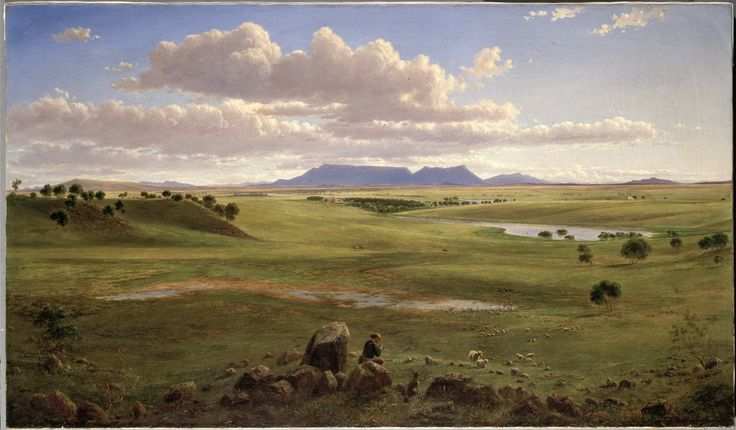 Stoneleigh, Beaufort near Ararat, Victoria, 1866, Eugene von Guerard, pencil & oil pastel, 69.9 x 119.4 cm, State Library of New South Wales