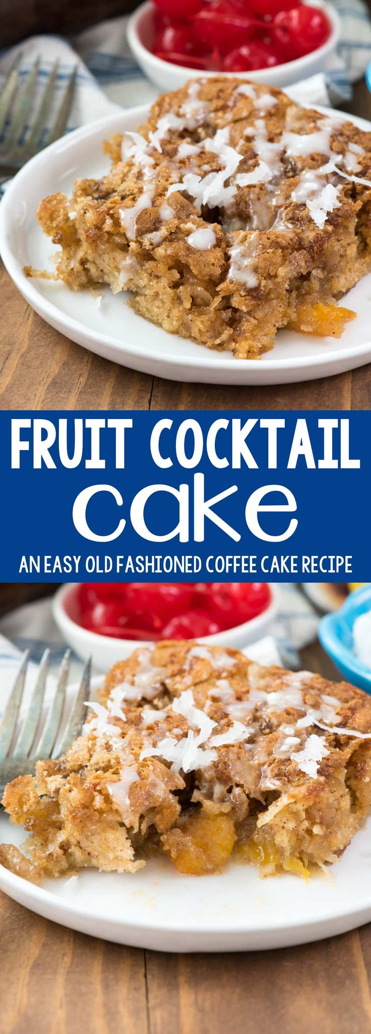 Fruit Cocktail Cake - this easy cake recipe is the perfect coffee cake for breakfast! It's full of coconut and fruit with no oil! This old fashioned recipe is the perfect way to use up canned fruit cocktail.