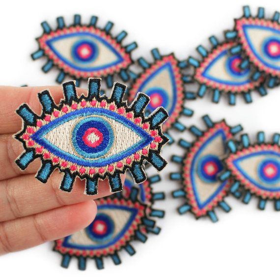 Evil Eye Patch, Embroidered Patches, Gem, Iron On, Applique, Patchwork, Embroidery, Blue, Wildflower + Co. DIY