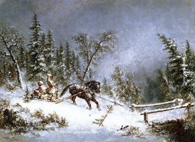 Cornelius Krieghoff Winter Scene, Blizzard, painting Authorized official website