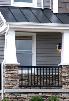 Gray craftsman house with metal roof google search for Craftsman roofing