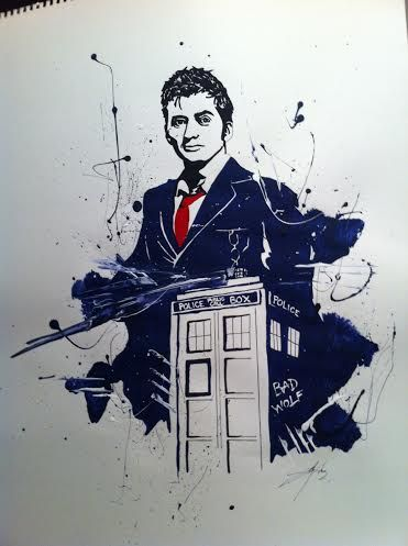 Doctor Who David Tennant: Acrylic paint on paper. Painted this for a firend for Christmas gift.
