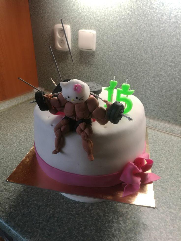 Bodybuilder n Hello Kitty cake
