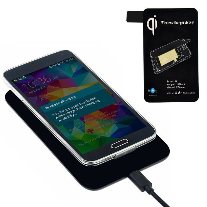 Qi Standard Wireless Charger + Receiver Tag For Samsung Galaxy S5 I9600 G900