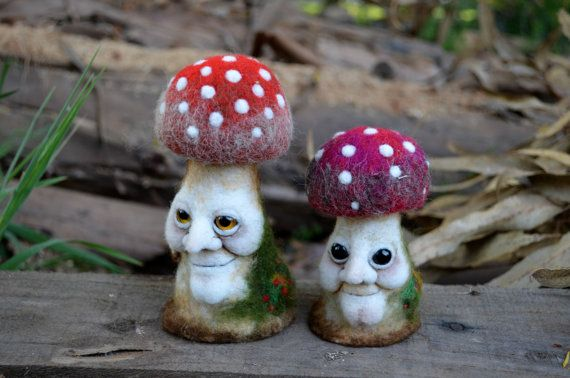 Needle Felted mushroom with elf face by Harthicune by Harthicune