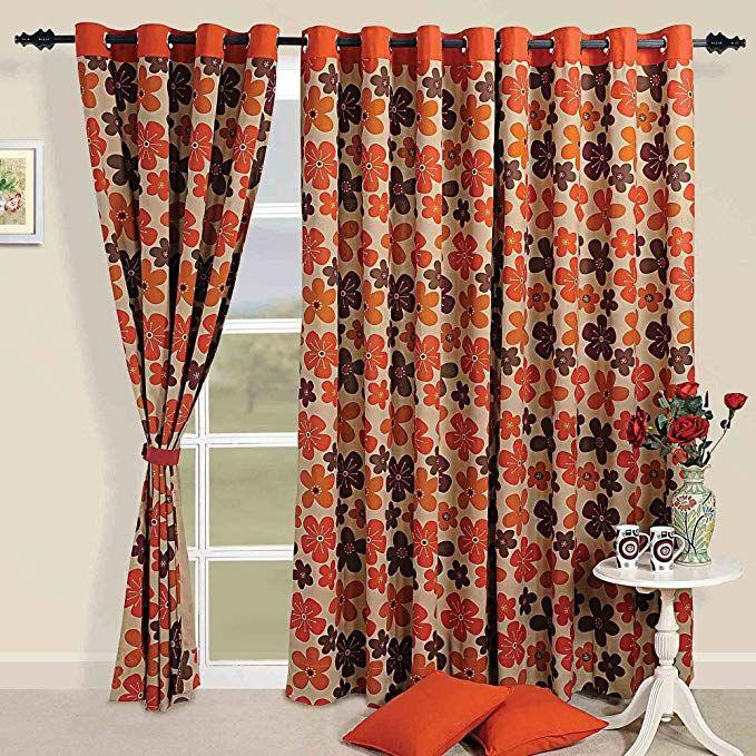 Colorful Cotton Window Curtains 54 X 60 Inch Modern Orange Rust