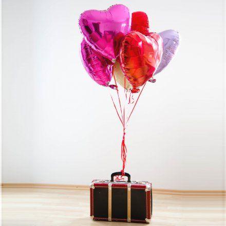Heliumbefüllte Herzballons 6er-Set