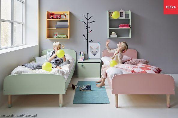 Łóżko krótsze PLAY, koralowy, MDF, nogi jesion, stelaż drewniany sztywny - Łóżka dla dzieci - FLEXA
