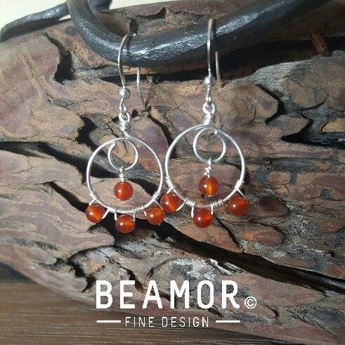Carnelian wire wrap earrings #beamor