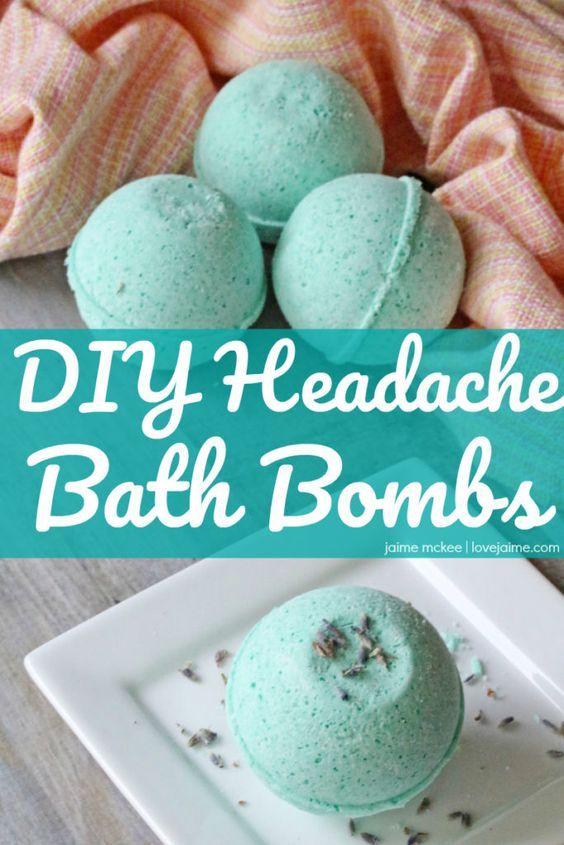DIY Headache Bath Bombs (with essential oils) | https://lovejaime.com/diy-headache-bath-bombs/