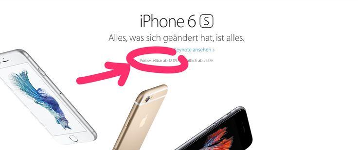 12.09.2015 - iPhone 6S Vorbestellung bei Telekom, O2, Vodafone und Apple startet - https://apfeleimer.de/2015/09/12-09-2015-iphone-6s-vorbestellung-bei-telekom-o2-vodafone-und-apple-startet - Neues iPhone 6S kaufen: ab 12.09.2015 können die beiden neuen Apple Smartphones iPhone 6s und iPhone 6s Plus bei Apple, Deutsche Telekom / T-Mobile, O2 und Vodafone vorbestellt bzw. verbindlich bestellt und gekauft werden. Während Apple ab 9:01 Uhr am 12. September 2015 den Apple Onlin