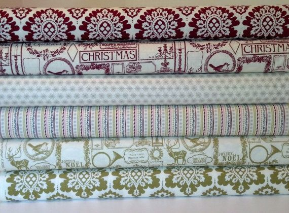 Riley Blake Christmas Lost & Found by My Mind's Eye, Fat Quarter Bundle, Set of 6 Fat Quarters, Vintage Tags, Damask, Stripes, Snowflakes