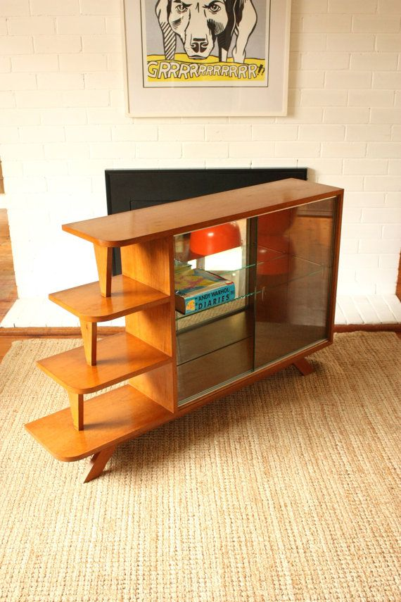 Mid Century Mirrored Display Cabinet Shelf by TriBecasVintage