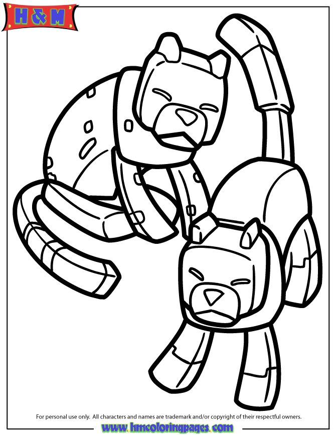 Minecraft Coloring Pages Dog