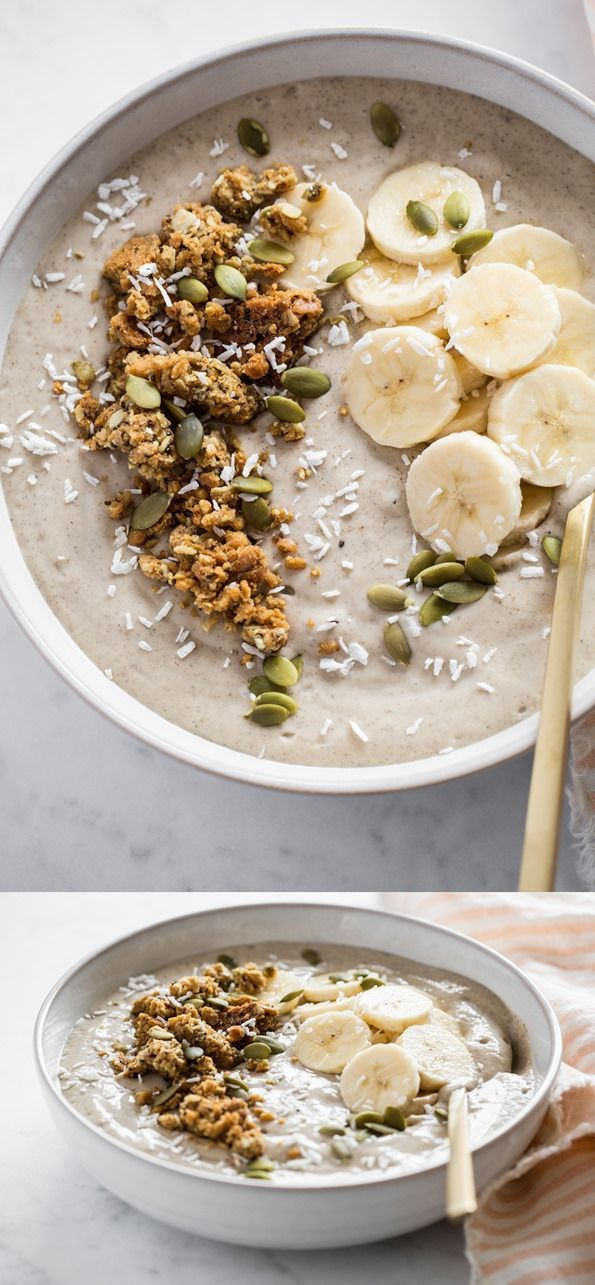 In the Buff Smoothie Bowl  Vegan, gluten-free, grain-free, no bake/raw, oil-free, refined sugar-free, soy-free  Packed with protein & healthy fats, it keeps me going all morning long, and its subtle, earthy flavours and thick texture are the perfect base for loading on all kinds of toppings.
