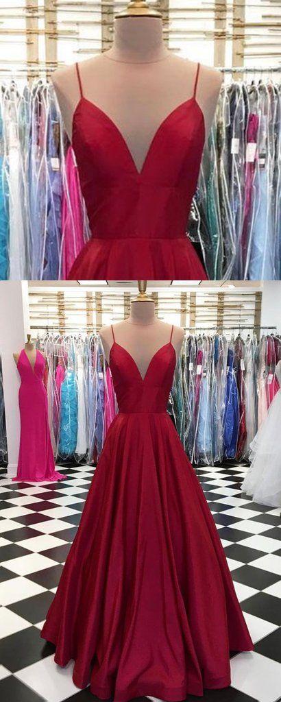 Burgundy satin spaghetti straps long V neck evening dress, simple party dress #prom #dress #promdress
