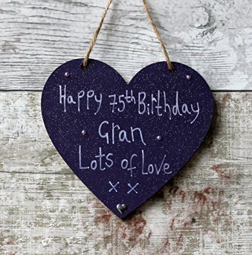 Birthday Gifts MadeAt94 Handmade Gift Purple Heart Plaque Happy 75th GRAN Lots Of Love