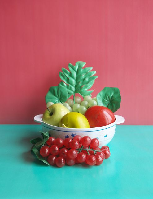 Fake fruit bowl for play kitchen table