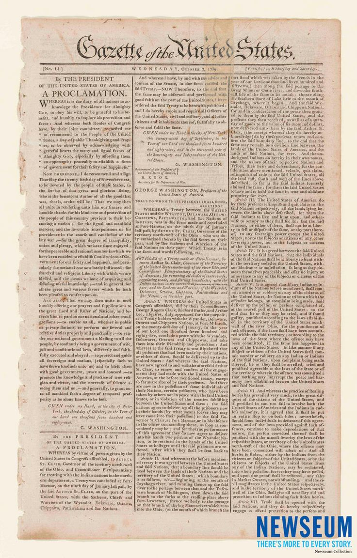 Front-page printing of President George Washington's proclamation establishing first federal Thanksgiving holiday in 1789. (Newseum Collection)