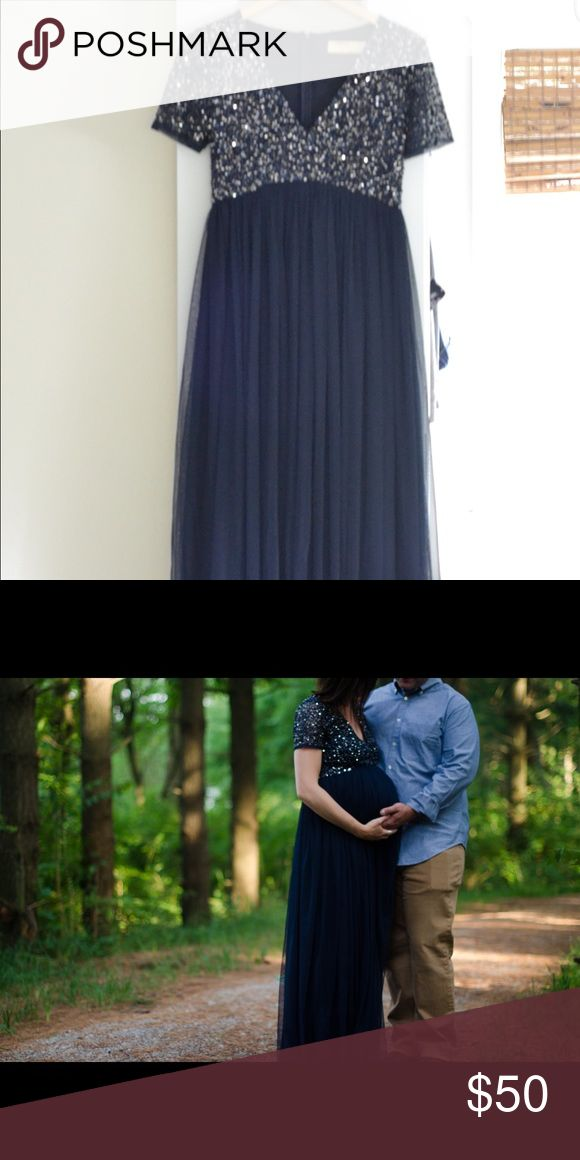 ASOS maternity formal dress. Size US 4. Navy, floor length, sequin top, tulle skirt. Brand is Maya. Worn once for maternity photos. ASOS Maternity Dresses Maxi