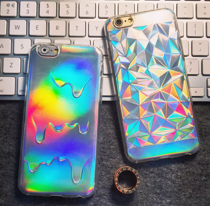 NEW Holographic 3D Melting Oil Drippy Transparent TPU Cover Case For Iphone5 6S #Unbranded