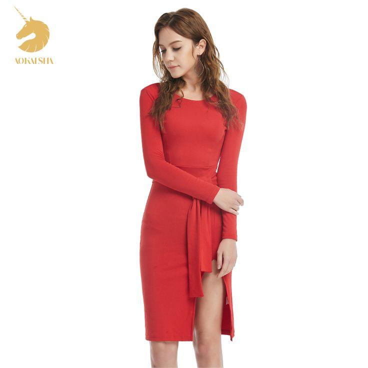 2016 Winter Autumn WomenDress New Ladies Sexy Vintage Dress High Waist Party Dresses Sexy Red Women Knee-Length Dress  M15483