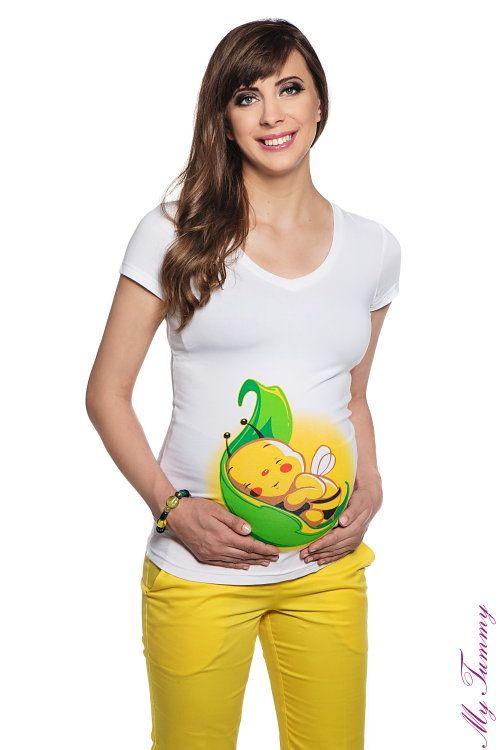 T-shirt ciążowy Pszczółka na liściu